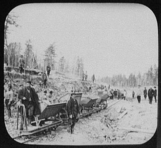 Trans-Siberian Railway - Construction work being performed by convicts on the Eastern Siberian Railway near Khabarovsk, 1895