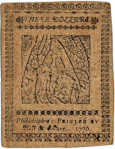 Continental Currency $3 banknote reverse (November 2, 1776).jpg