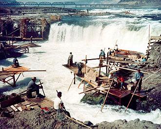 Celilo Falls - Dipnet fishing at Celilo Falls in the 1950s
