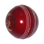 A traditional cricket ball. The white stitching is known as the seam. As one-day games are often played under floodlights, a white ball is used to aid visibility.