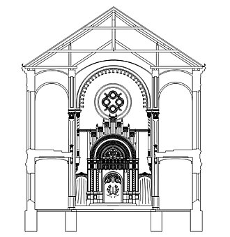 Zagreb Synagogue - Computer reconstruction of the cross section of the Zagreb Synagogue.