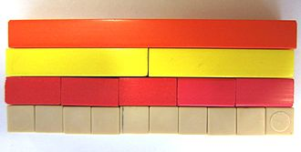 Divisor - The divisors of 10 illustrated with Cuisenaire rods: 1, 2, 5, and 10