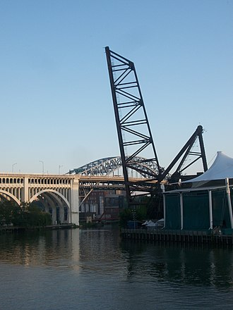 Cuyahoga River - Near the mouth of the river in Cleveland's Flats