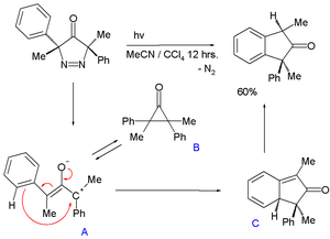 Cyclopropanone - 2,3-Dimethyl-2,3-diphenylcyclopropanone intermediate in photolysis