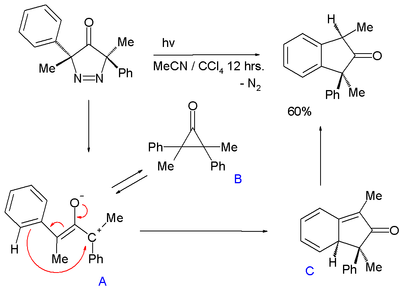 2,3-Dimethyl-2,3-diphenylcyclopropanone intermediate in photolysis