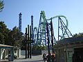 Déjà Vu roller coaster at Six Flags Magic Mountain.jpg