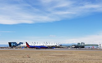 Denver International Airport - A Southwest Airlines Boeing 737-800 taxis north at Denver International Airport