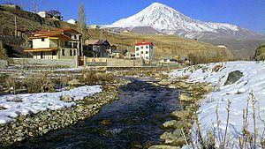 Haraz River - Haraz River and Mount Damavand, from Manzariye village.