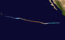 The track of a hurricane starts near the western coast of Mexico and heads westward, ultimately ending near Hawaii.
