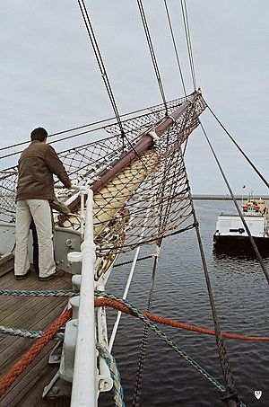 Bowsprit - The bowsprit of the Dar Pomorza carries a trapeze of safety netting