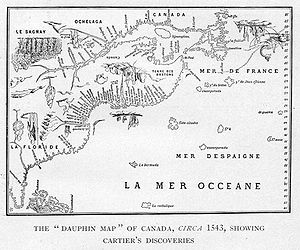 Jean Alfonse - The Dauphin Map of Canada, circa 1543, showing Cartier's discoveries and explorations. A region explored by the pilot Jean Alfonse in 1542-43