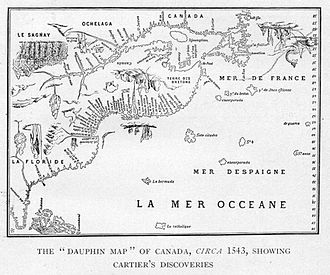 Jacques Cartier - The Dauphin Map of Canada, c. 1543, showing Cartier's discoveries