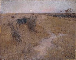 Heidelberg School - David Davies spent much of the 1890s painting in Templestowe. Moonrise (1894) belongs to his nocturnal series.