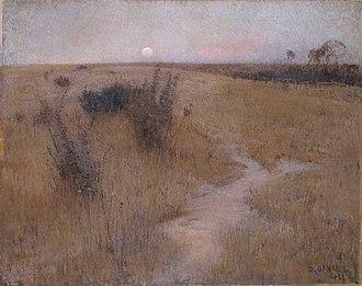 Heidelberg School - David Davies spent much of the 1890s painting in Templestowe. Moonrise (1894) belongs to his nocturnal series.