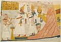 Deceased censing and libating to the deified Mentuhotep and Ahmose-Nefertari, with the Hathor cow emerging from the mountain; Tomb of Ameneminet MET 30.4.124 EGDP017841.jpg