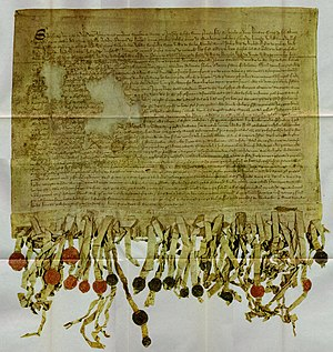 Scottish national identity - The 'Tyninghame' copy of the Declaration of Arbroath from 1320