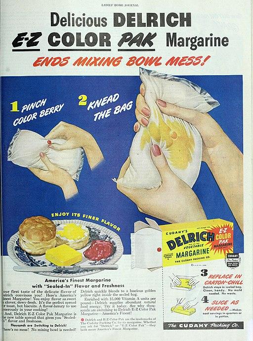 Delrich E-Z Color Pak Margarine, 1948