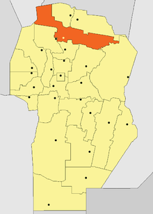 Location of Tulumba Department in Córdoba Province