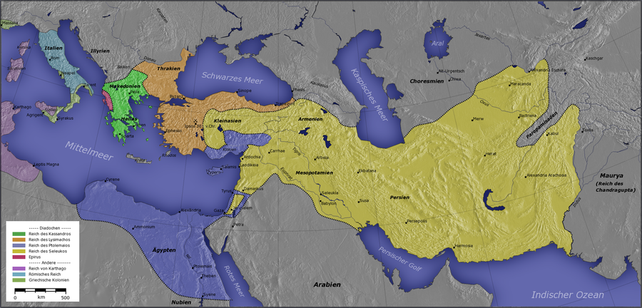 Kingdom of Ptolemy I Soter Kingdom of Cassander Kingdom of Lysimachus Kingdom of Seleucus I Nicator Epirus Other:   Carthage Rome Greek colonies Diadochen1.png
