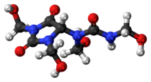 Ball-and-stick model of the diazolidinyl urea molecule
