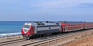 Coastal railway line, Israel - A Double-decker train on the Coastal line south of Haifa.