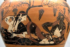 Mastos Painter - Dionysus and consort, possibly Ariadne, on an amphora by the Mastos Painter