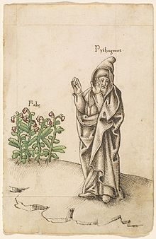 "Old manuscript illustration showing a cloaked and hooded man labelled ""Pythagoras"" raising his arms and turning his face away from a bean plant, labelled ""Fabe."""