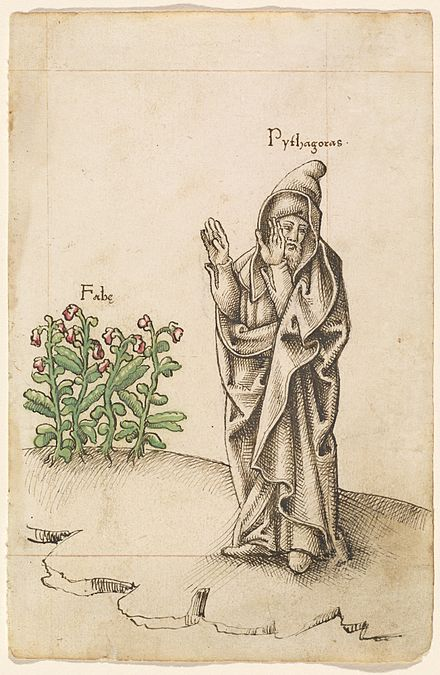 French manuscript from 1512/1514, showing Pythagoras turning his face away from fava beans in revulsion Do Not Eat Beans.jpg