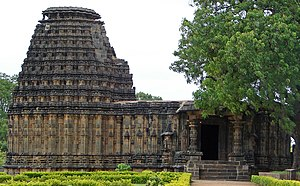Western Chalukya architecture - Dodda Basappa Temple at Dambal, a unique 24-pointed, uninterrupted stellate (star-shaped), 7-tiered  dravida plan, 12th century CE