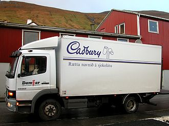 Truck delivering chocolate in the Faroe Islands Dog as truck driver.jpg