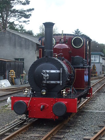 Locomotive No. 2 Dolgoch at Pendre, newly repainted into maroon livery - March 2008 Dolgoch Maroon.JPG