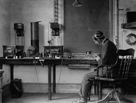 Donald Manson working as an employee of the Marconi Company (England, 1906) Donald Manson working as an employee of the Marconi Company.jpg