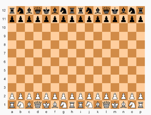 Double Chess - Double Chess board and initial setup. Pawns advance up to four squares on their first move.