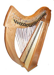 Multi-course harp harp with two or three rows of strings