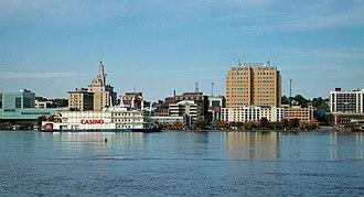 Neighborhoods of Davenport, Iowa - Downtown Davenport, Iowa looking across the Mississippi River from Rock Island, Illinois.