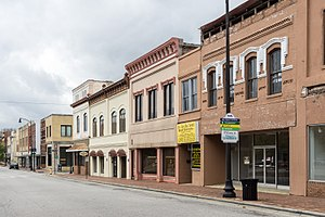 Lumberton, North Carolina - A view down Elm Street in Lumberton