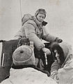 Dr. Ron Balham on his tractor at Scott Base during the Commonwealth Trans-Antarctic Expedition, 1957.jpg