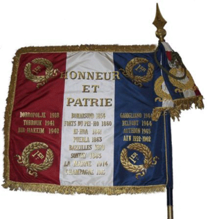 Battle honour - Flag of the 1 RIMA. The regiment has been awarded fifteen battle honours.