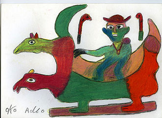 Fantasy coffin - Figurative palanquin; drawing by Ataa Oko from Ghana