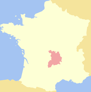 History of Auvergne - Map of the extent of the Duchy of Auvergne