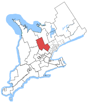 Dufferin—Caledon - Dufferin—Caledon in relation to other Ontario electoral districts (2003 boundaries)