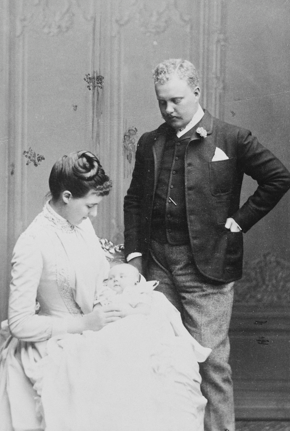 Duke and Duchess of Braganca, Crown Prince and Princess of Portugal with their infant son Don Luis Philippe, 1888