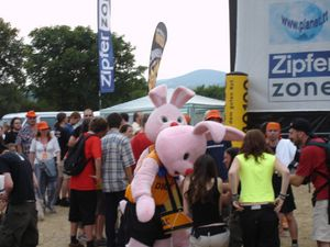 Two Duracell Bunnies during a festival in Vienna, Austria