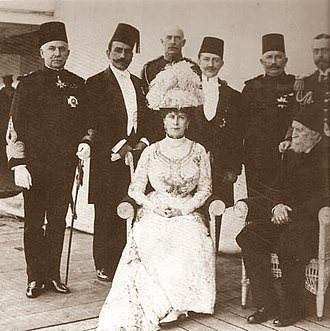 History of Egypt under the British - Gathering of Egyptian, Turkish and British royalty in 1911. Queen Mary seated and King George V standing at extreme right