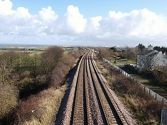 Durham Coast Line - The line on the approach to Hartlepool, as viewed from the site of Hart station in March 2016.
