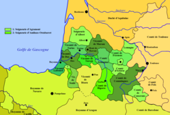 Duchy of Gascony around 1150. Comté de Comminges shown in dark green at lower right.