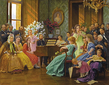 Bedrich Smetana on the painting of Frantisek Dvorak Dvorak Bedrich Smetana and friends in 1865.jpg