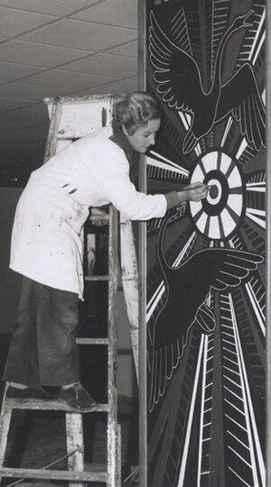 Elizabeth Durack - At work on The New Plumage, Black Swan mural, Sir Charles Gairdner Hospital, Nedlands, Perth, 1956