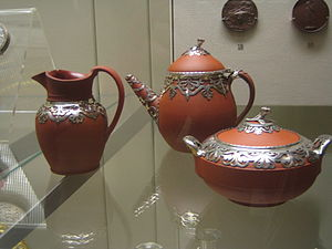 An early Victorian tea set on display in the B...