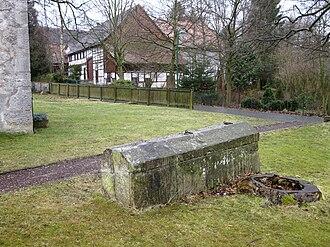 Eberholzen - Stone coffin at the church.